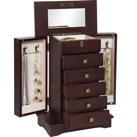 Hardwood Jewelry Armoire by Bcp Handcrafted Wooden Jewelry Box Organizer Wood Armoire