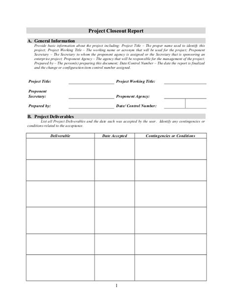 Contract Work Agreement Template project closeout report