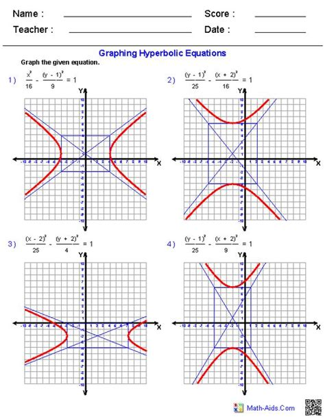 Conic Sections Sheet by Conic Sections Worksheets Algebra 2 Worksheets Math Aids