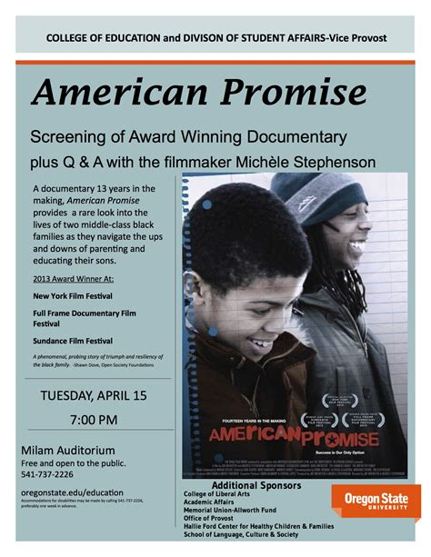 american promise film summary american promise events osu college of education