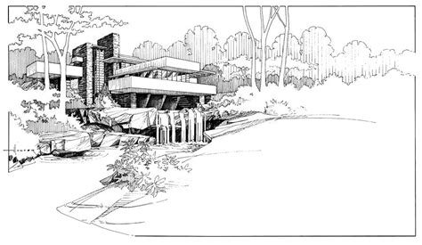 Apps For Floor Plans Ipad by Fallingwater Drawing By Larry Hunter