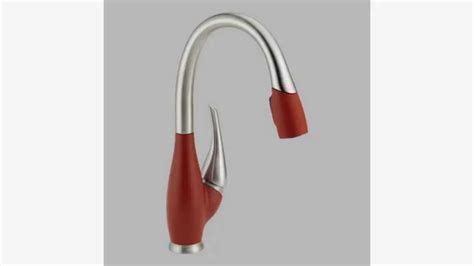 red kitchen faucet delta faucet 9158 sr dst fuse single handle pull down kitchen faucet stainless red youtube