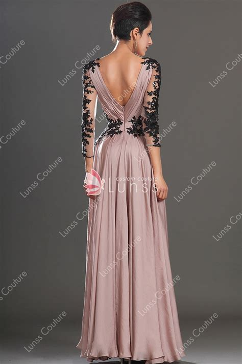 V Neck Chiffon Dress sheer sleeve v neck a line popular semi formal