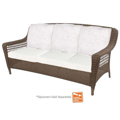 Hton Bay Spring Haven Grey Wicker Patio Sofa With Patio Furniture Inserts