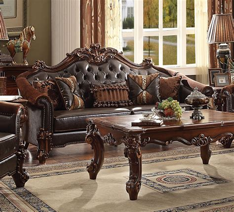 vendome traditional formal dining room cherry finish acme vendome ii gold patina sofa