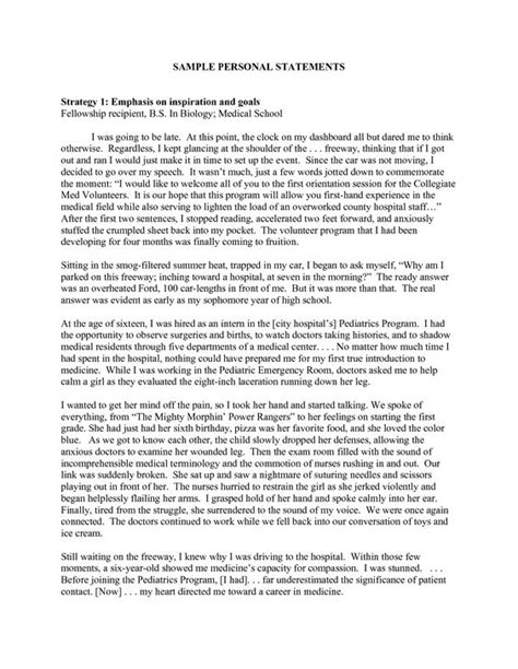 personal statement personal statement exles sle personal statements