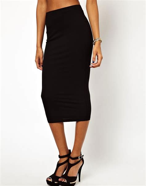 asos asos midi pencil skirt in jersey at asos