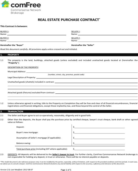 Download Ontario Real Estate Purchase Contract Form For Free Formtemplate Purchase Agreement Ontario Template