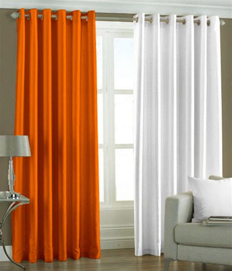 Orange And White Curtains 51 On Pindia Plain Eyelet Curtains 7ft Set Of 2 Orange White On Snapdeal Paisawapas