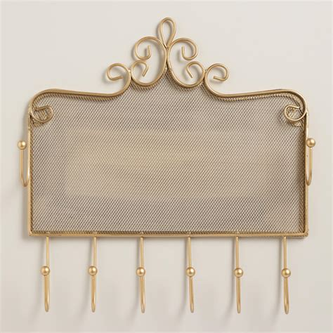 gold wall jewelry holder with hooks world market
