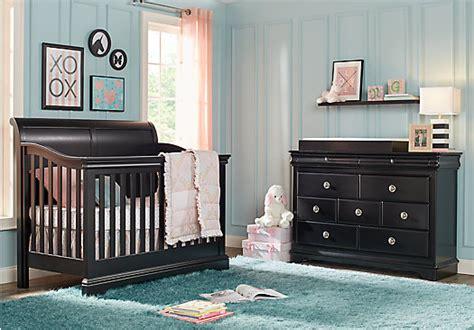 Black Nursery Furniture Sets Oberon Black 4 Pc Nursery