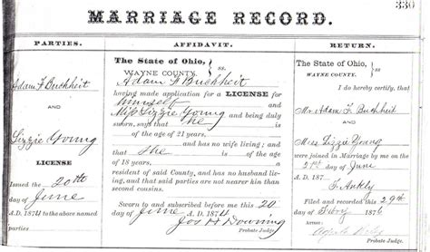 Record For Marriage Marriage Records Genealogy