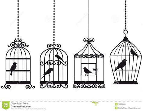 Christmas Tree Stencil - vintage birdcages with birds stock images image 14525504
