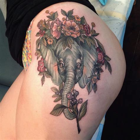hip tattoo elephant amp flowers best tattoo design ideas
