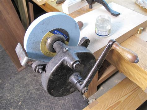 hand powered bench grinder using a hand cranked grinder popular woodworking magazine
