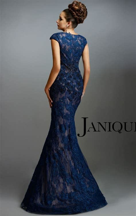 beaded lace dress rent janique dresses navy beaded lace gown w977