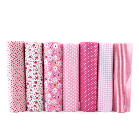 Patchwork Bundles - 7pcs pink floral patchwork cotton fabric quarter