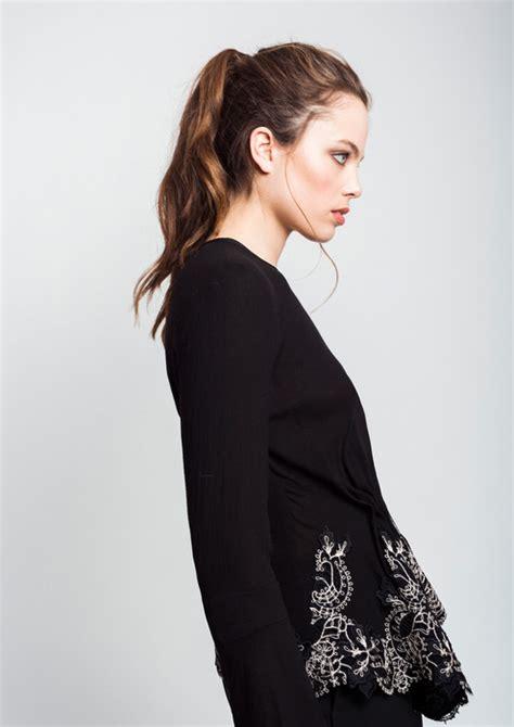 puntilla blusa de mangas de viro blusa negra con puntilla en bajo