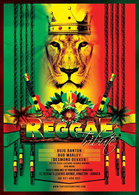 reggae tribute flyer template rasta psd design