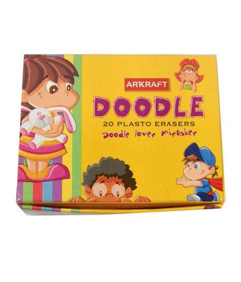 doodle stationery india artkraft doodle plasto eraser florescent 5 colour pack