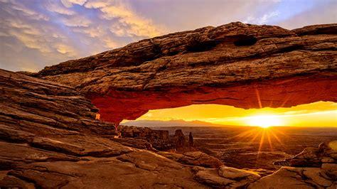 wallpaper mesa arch utah usa mountains sunrise