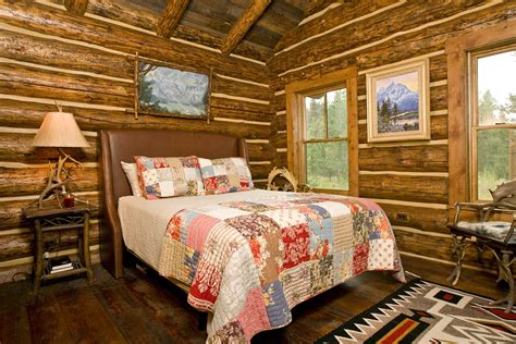 Lodge Bedroom Decorating Ideas by Log Cabin Interior Design In Jackson Teton Heritage