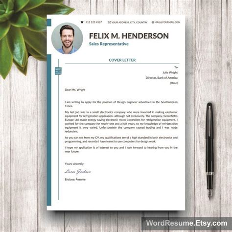 layout portfolio word professional curriculum vitae design cover letter