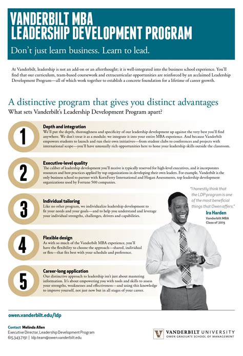 Mba Leadership Development Programs Uk by Vanderbilt Mba Leadership Development Program Brochure