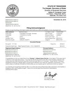 Certificate Of Incorporation Template by Tennessee Incorporation Registered Incparadise