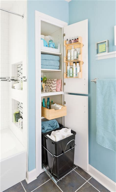 Bathroom Closet Organizer by Storage Packed Small Bathroom Makeover Traditional