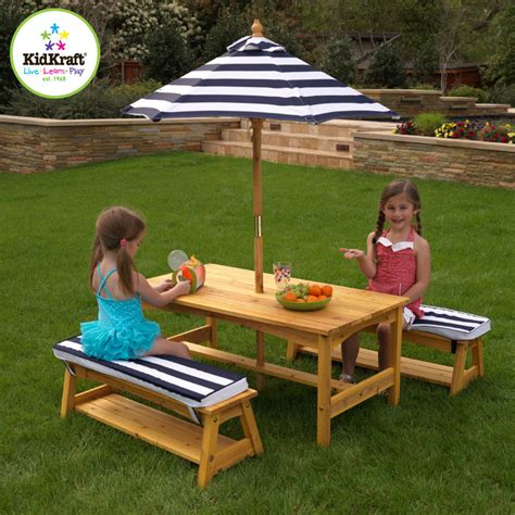 Childrens Table And Bench Set kraft outdoor table and chair set with cushions and navy stripes traditional