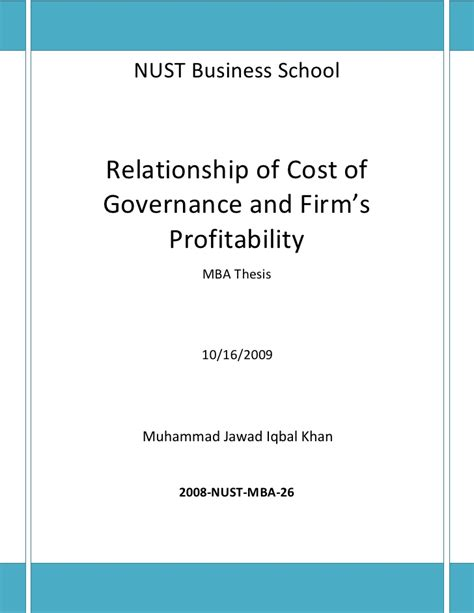 Of South Alabama Mba Cost by Cost Of Governance Relationship With Firms Profitability