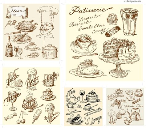4 designer vector material of retro hand drawn food