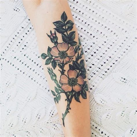 tattoo flower with stem illustrated flower stem and leaves tattoo body mods