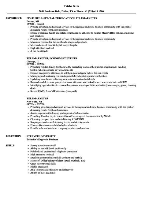 Telemarketing Resume by Telemarketer Resume Sles Velvet