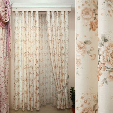 shabby chic floral curtains breathable cotton and linen floral shabby chic curtains