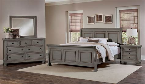 reflections antique pewter sleigh bedroom set from