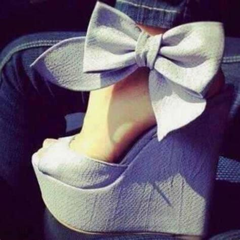 shoes wedges bow ankle linen high heels