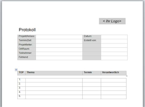 Word Vorlage Besprechungsprotokoll Projektmanagement24 Word Vorlage Zur Erstellung Protokollen Mit