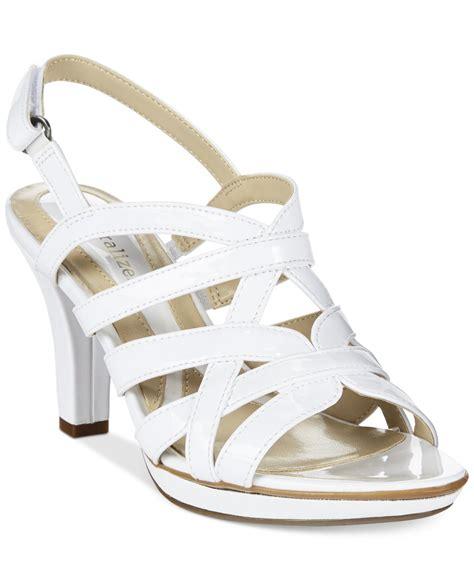 white dress sandals for naturalizer delma platform dress sandals in white lyst