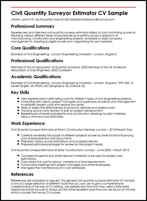 Qualifications For Job Resume by Civil Quantity Surveyor Estimator Cv Sample Myperfectcv
