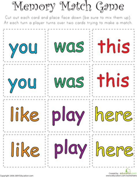 printable word matching games memory games worksheets free printables education com