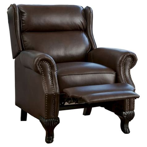 christopher knight home leather recliner club chair tauris pu leather recliner club chair dark brown