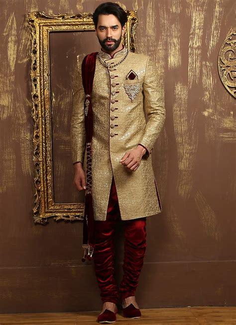 buy golden  maroon breeches style achkan sherwani