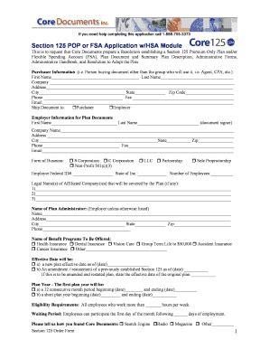 section 125 form section 125 pop with hsa module fill online printable