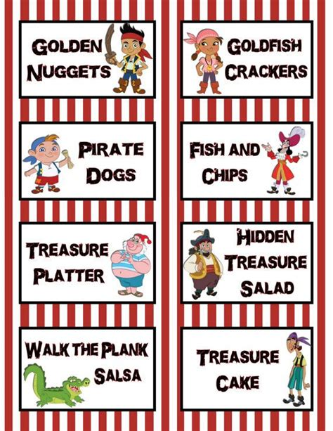 printable pirate labels jake and the neverland pirates birthday party 3 5x2 5 flat