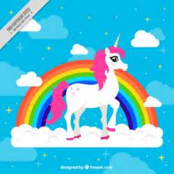 colorful background with pretty unicorn vector free download