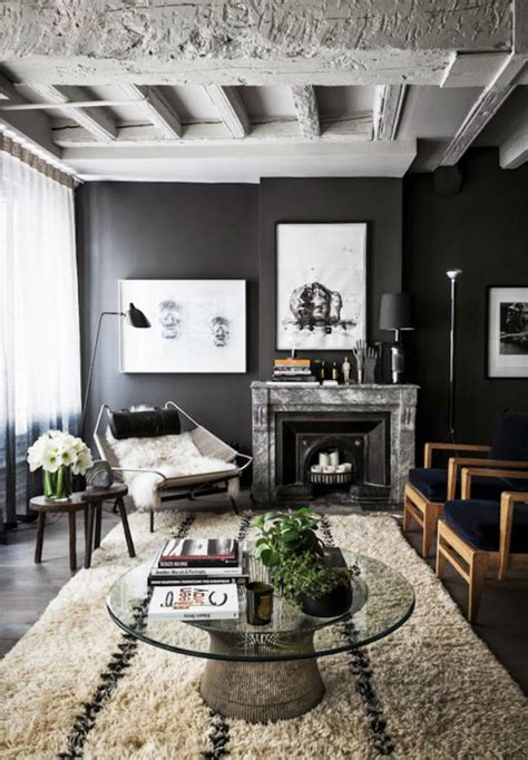 black and white industrial loft space living room with