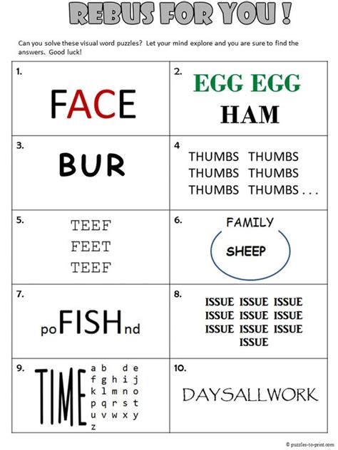 free printable logic puzzles for high school free printable rebus worksheet from puzzles to print