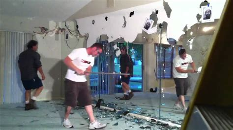 how to remove a glued on bathroom mirror demolishing a glass mirror wall youtube